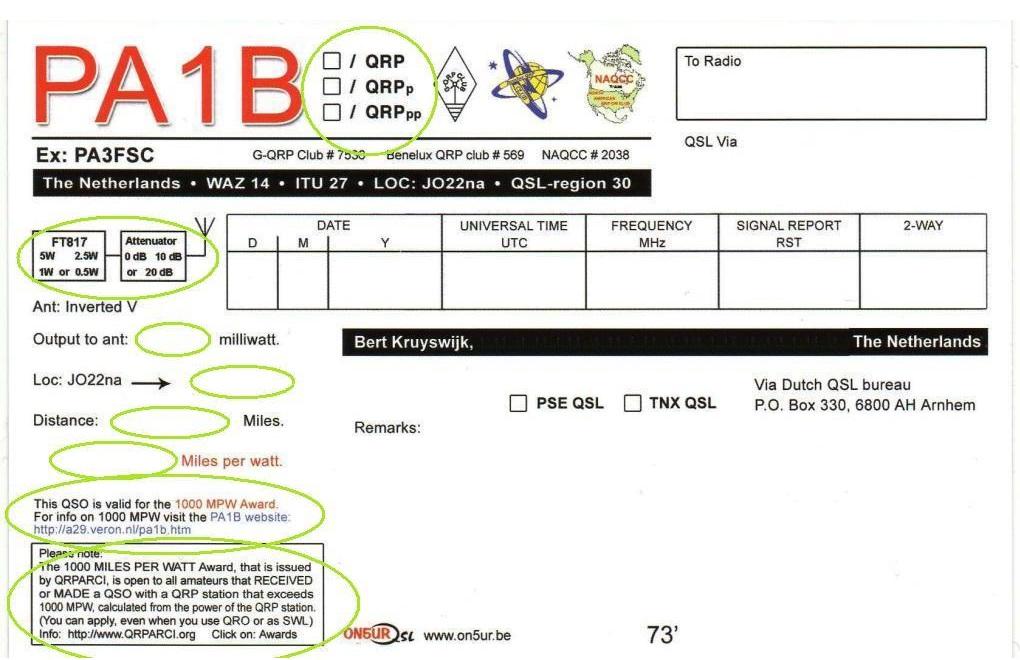 PA1B 1000 Miles per Watt QSL card