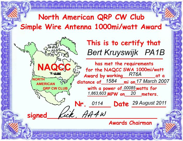 1000 Miles per Watt Award QSO with RT6A