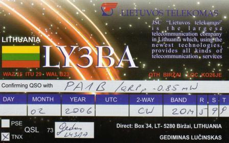 LY3BA - 1 milliwatt QSO