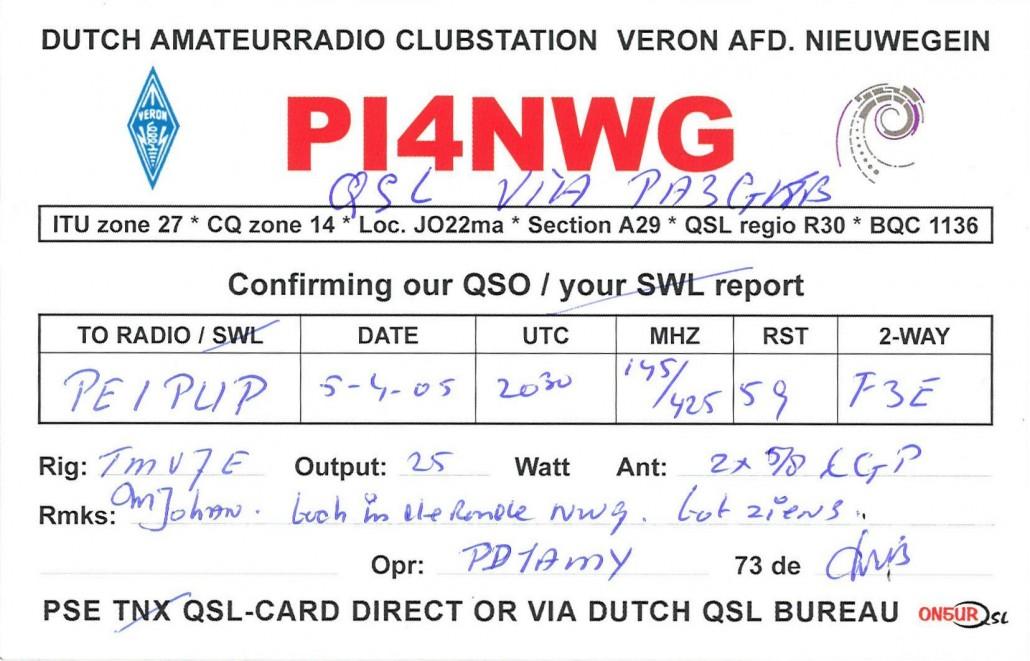 Onze huidige PI4NWG QSL kaart in detail