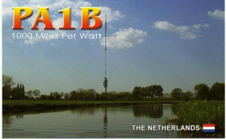 PA1B's more than 1000 Miles per Watt QSL card