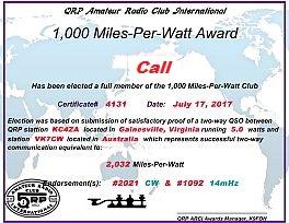 QRPARCI 1000 MPW Award