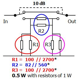 Accurate 10 dB attenuator