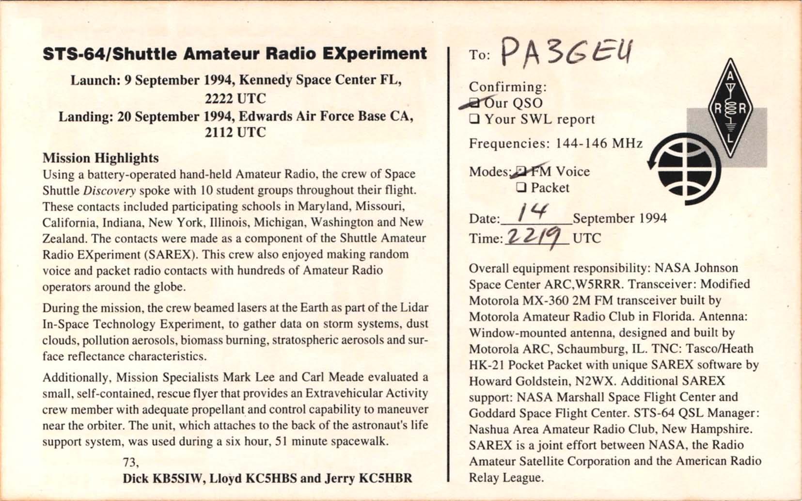 QSL kaarten - Een verbinding met een Space Shuttle expeditie